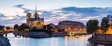 Paris Notre Dame Panorama Stock Photography