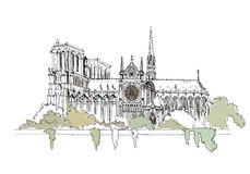Paris, Notre Dame, sketch collection Royalty Free Stock Photos