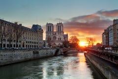 Paris - Notre Dame at sunrise, France Royalty Free Stock Images