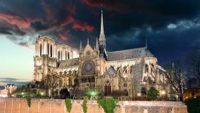 Paris - Notre Dame, Time lapse. stock video footage