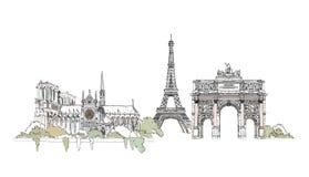 Paris, Notre Dame Voûte de Thriumph et Tour Eiffel, collection de croquis illustration libre de droits