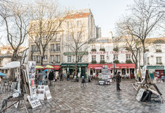 PARIS - NOVEMBER 23, 2012: Artwork set up in Place du Tertre in Stock Photo