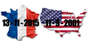 Paris 13 November. The national Franch Flag and US Flag on map of France and the United States with dates of terrorist attacks of 13 November in Paris and 11 Stock Photos