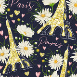 paris O teste padrão sem emenda do vintage com torre Eiffel, corações com textura dourada da folha do brilho e camomila floresce ilustração do vetor