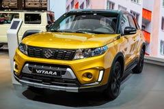 Suzuki Vitara car. PARIS - OCT 2, 2018: New Suzuki Vitara SUV car showcased at the Paris Motor Show stock image
