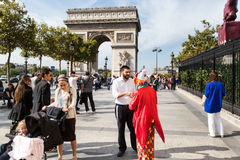 PARIS - OCTOBER 14, 2014: Arc de Triomphe against nice blue sky.  Royalty Free Stock Images