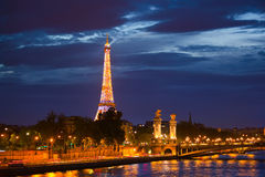 Alexander the Third bridge is popular touristic site in Paris. Royalty Free Stock Photo