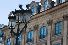 Paris old buildings with lamps Stock Images