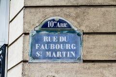 Paris old street sign Rue Du Fabourg St Martin Royalty Free Stock Photos