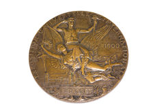Paris 1900 Olympic Games Participation medal reverse Kouvola Finland 06.09.2016. Royalty Free Stock Image