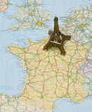 Paris On France Map With Miniature Eiffel Tower Royalty Free Stock Photos