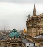 Paris Opera. Rain over Paris Opera, gold statue is visible Royalty Free Stock Photography