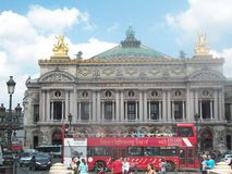 Paris Opera House with tour bus in front Royalty Free Stock Image
