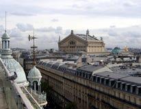 Paris Opera seen from the Printemps department store. Paris, Opera, Garnier, Roofs, Street view Stock Images