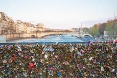 Paris, padlocks of love bridge Stock Photos