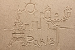 Paris painted by in the sand Royalty Free Stock Photo