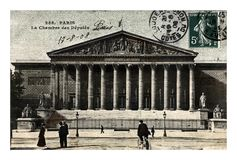 Paris, Palais Bourbon for the National Assembly of French Parliament, France, circa 1908,. PARIS, FRANCE - CIRCA 1908: vintage canceled postcard printed in Royalty Free Stock Image