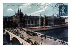 Paris, Palais de Justice, Conciergerie and Pont au Change, France, circa 1908,. PARIS, FRANCE - CIRCA 1908: vintage canceled postcard printed in France shows Royalty Free Stock Photography