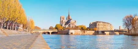Paris, Panorama über Fluss die Seine mit Notre-Dame-Kathedrale Stockfotografie