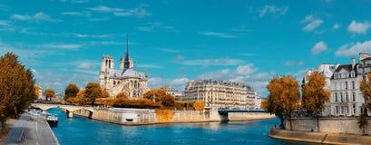 Paris, Panorama über Fluss die Seine mit Notre-Dame-Kathedrale in Fa Lizenzfreie Stockbilder