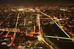 Paris panorama. A view from the top of the Eiffel Tower at night, Paris, France Stock Photo