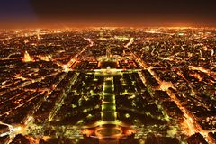 Paris panorama. A view from the top of the Eiffel Tower at night, Paris, France Royalty Free Stock Photography