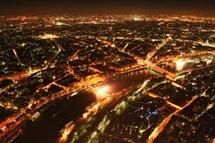 Paris panorama. A view from the top of the Eiffel Tower at night, Paris, France Royalty Free Stock Images