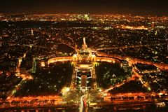 Paris panorama. A view from the top of the Eiffel Tower at night, Paris, France Stock Image