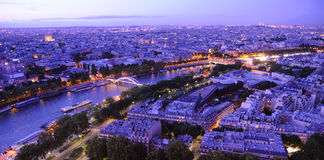 Paris panorama. Fantastic view to Paris from Eiffel Tower to Seine river and buildings in illumination stock photos