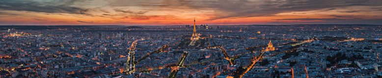 Paris - Panorama. Panorama of Paris at night from Montparnasse Stock Photography