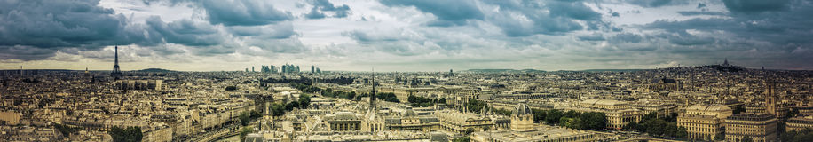 Paris panorama Arkivfoton