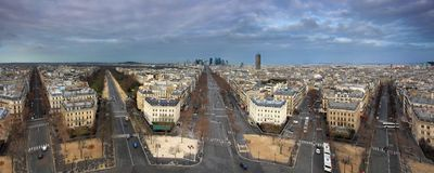 Paris panorama from Arch de Triumph Stock Images