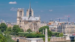 Paris Panorama with Cite Island and Cathedral Notre Dame de Paris timelapse from the Arab World Institute observation. Paris Panorama with Cite Island and stock footage
