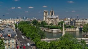 Paris Panorama with Cite Island and Cathedral Notre Dame de Paris timelapse from the Arab World Institute observation. Paris Panorama with Cite Island and stock video