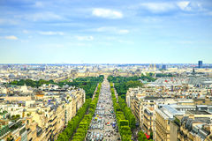 Paris panorama- flyg- sikt av Champs-Elysees. Frankrike Royaltyfri Bild