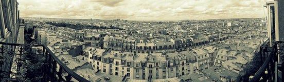 Paris panorama från balkong Arkivfoto