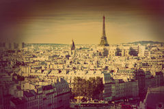 Paris panorama, France. Eiffel Tower. Retro Stock Photo