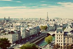 Paris panorama, France. Eiffel Tower, Seine river Stock Images