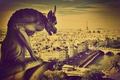 Paris panorama, Frankrike. Eiffel står hög Arkivbild
