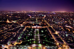 Paris panorama, Frankrike på natten. Royaltyfria Bilder