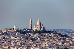 Paris panorama of Montmartre and Sacre Couer Stock Photos