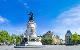 Paris panorama of the monument to the Republic with the symbolic statue of Marianna. In Place de la Republique royalty free stock photos
