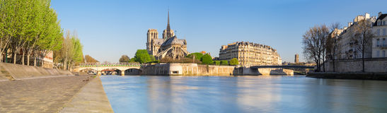 Paris, panorama over river Seine with Notre-Dame Cathedral Royalty Free Stock Images