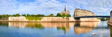 Paris, panorama over river Seine with Notre-Dame cathedral Royalty Free Stock Photography