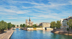 Paris, panorama over river Seine with Notre-Dame cathedral Stock Images