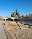 Paris, panorama over river Seine towards Notre-Dame cathedral Stock Photo