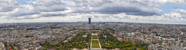 Montparnasse and Champ de Mars in Paris panoramic stock images