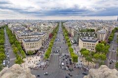 Paris. Panoramic view of Paris from the Arc de Triomphe Stock Image