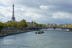 Paris panoramic view from Seine Royalty Free Stock Photo