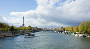 Paris panoramic view from Seine Royalty Free Stock Photos
